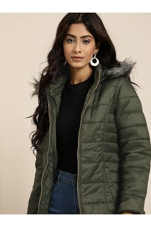 all about you Women Parkas - Women Olive Green Solid Parka Jacket