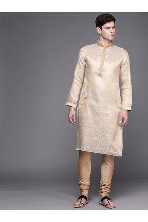 MANU Men Cream-Coloured Ethnic Motifs Regular Kurta with Churidar