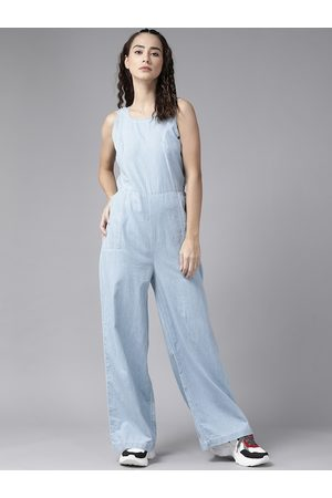 Roadster Blue Pure Cotton Solid Wide Leg Jumpsuit with Tie-Up Back