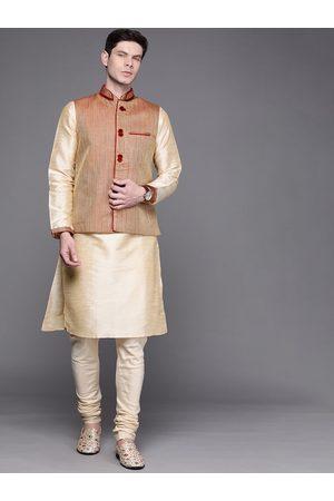MANU Men Cream-Coloured Regular Kurta with Churidar & Nehru Jacket