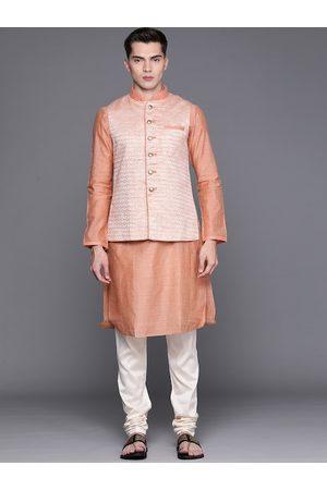 MANU Men Peach-Coloured Regular Kurta with Churidar