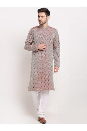 Jompers Men Maroon Ethnic Motifs Angrakha Kurta with Pyjamas