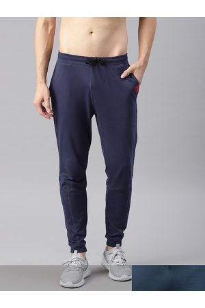 HRX Men Pack of 2 Blue Solid Joggers