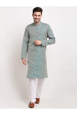 Jompers Men Green Woven Design Kurta with Churidar