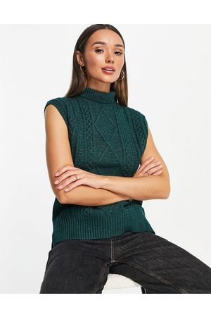VERO MODA Recycled blend cable knit vest in dark