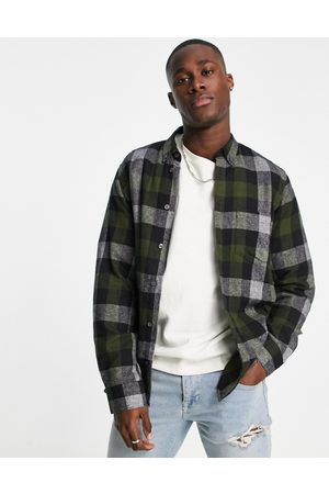 French Connection Long sleeve gingham check flannel shirt in dark