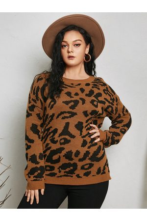 YOINS Plus Size Round Neck Leopard Long Sleeves Sweater