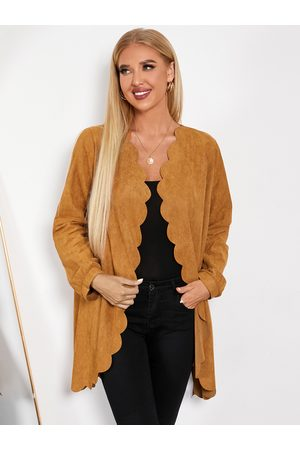 YOINS Suede Scalloped Trim Midi Length Trench Coat