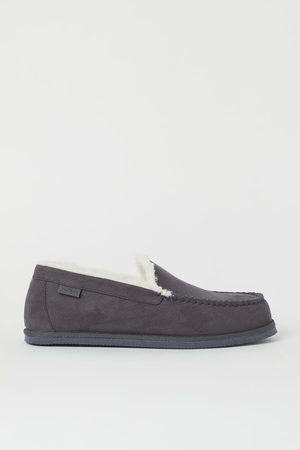H&M Men Loafers - Faux shearling-lined slippers - Grey