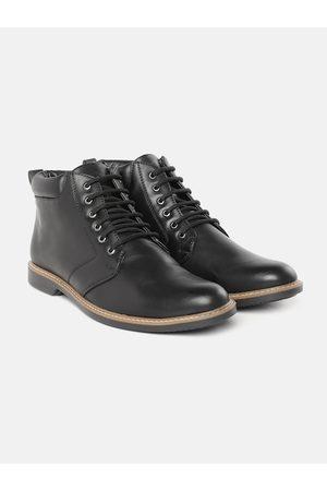 Roadster Men Black Solid Mid Top Flat Boots