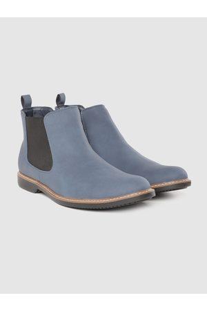 Roadster Men Navy Blue Solid Mid-Top Flat Boots