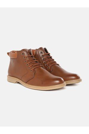 Roadster Men Brown Solid Mid Top Flat Boots