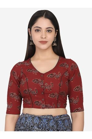 THE WEAVE TRAVELLER Women Maroon & Blue Printed Cotton Saree Blouse