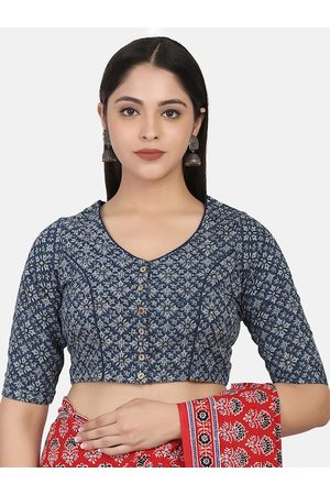 THE WEAVE TRAVELLER Women Blue & Grey Ajrakh Block Printed Cotton Ready To Wear Saree Blouse