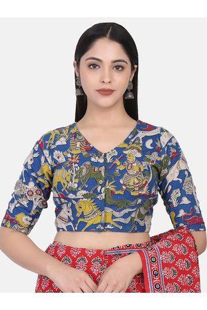THE WEAVE TRAVELLER Women Blue & Yellow Kalamkari Hand Block Printed Cotton Saree Blouse
