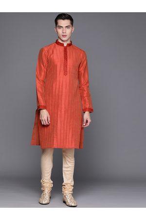 MANU Men Red Striped Regular Thread Work Kurta with Churidar