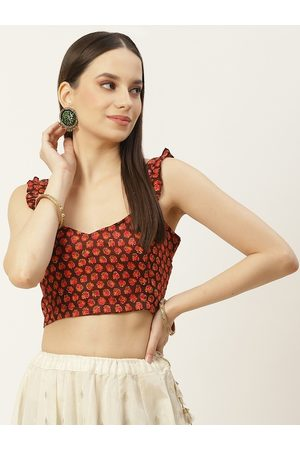 Molcha Women Brown & Red Printed Non Padded Cotton Saree Blouse With Frill Strap