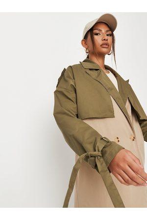 Missguided Women Beige & Olive Green Colourblocked Longline Trench Coat