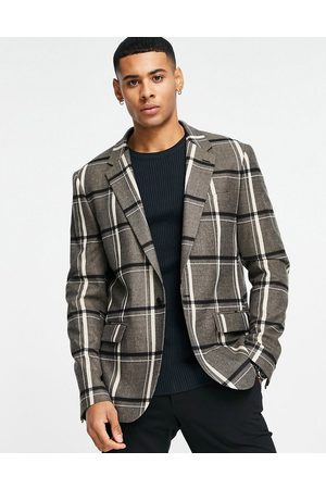River Island Double breasted suit jacket in check