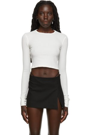 ÉTERNE SSENSE Exclusive Crop Thermal Waffle Long Sleeve T-Shirt