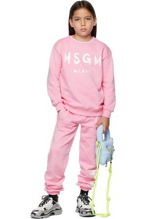 Msgm Trousers - Kids Pink Brush Logo Lounge Pants