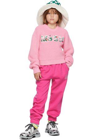 Msgm Kids Pink Floral Logo Sweater