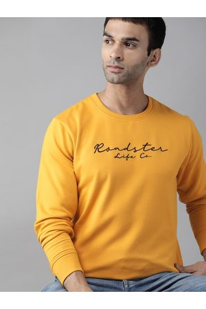 Roadster Men Yellow Embroidered Sweatshirt