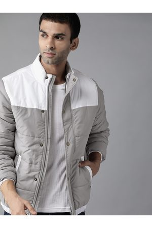 Roadster Men Grey & White Colourblocked Padded Jacket