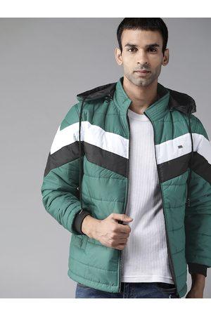 Roadster Men Green & White Colourblocked Padded Jacket