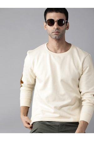 Roadster Men Cream-Coloured Solid Sweatshirt