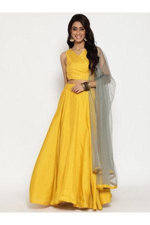 Luni Women Yellow & Grey Woven Design Lehenga & Choli With Dupatta Ready To Wear Set