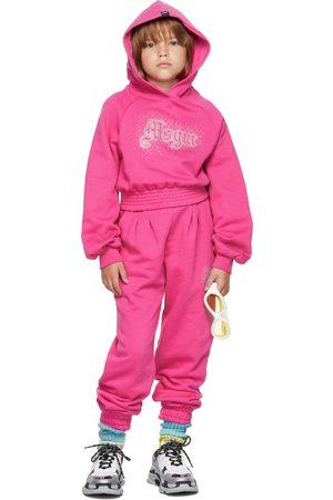 Msgm Kids Pink Rhinestone Logo Cropped Hoodie