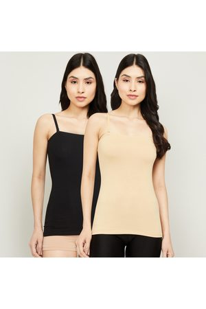 Ginger Women Slips - Solid Round Neck Camisole- Pack of 2