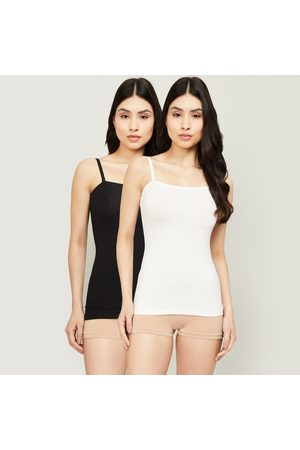 Ginger Solid Round Neck Camisole- Pack of 2