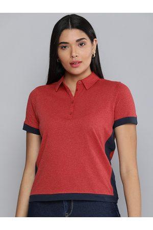Chemistry Women Coral Colourblocked Polo Collar T-shirt