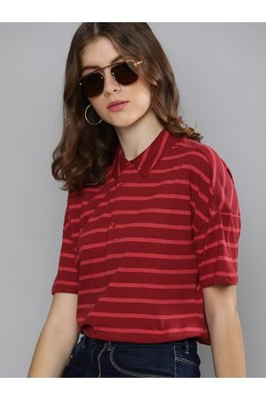Chemistry Women Red Striped Polo Collar Drop-Shoulder Sleeves T-shirt