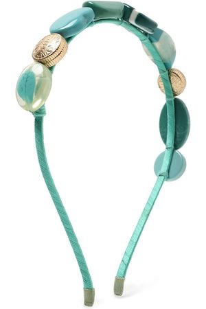 Forever 21 Women Green & Gold-Toned Embellished Hairband