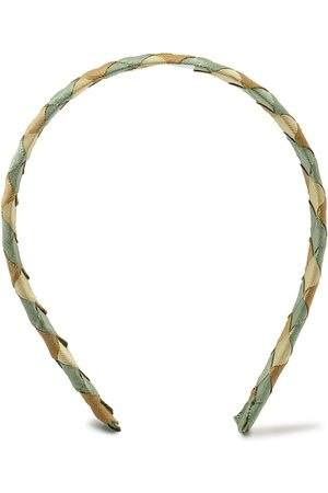 Forever 21 Women Green & Beige Checked Hairband