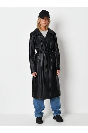 Missguided Women Black Solid Font-Open Longline Trench Coat with Belt