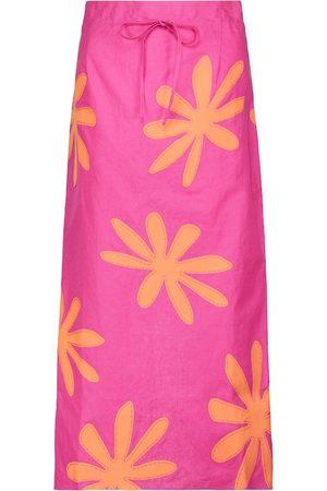 Jacquemus Women Midi Skirts - La Jupe Chouchou linen midi skirt