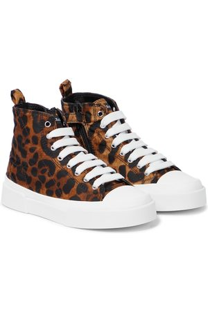 Dolce & Gabbana Girls Sneakers - Portofino leopard-print canvas sneakers