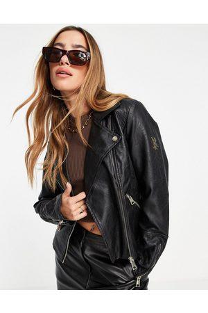 River Island Branded faux leather biker jacket in