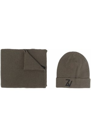 Zadig & Voltaire Ribbed-knit embroidered-logo beanie set