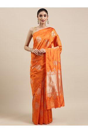 Indian Women Women Sarees - Orange Floral Zari Silk Cotton Kanjeevaram Saree
