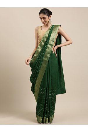 Indian Women Green Ethnic Motifs Zari Silk Blend Saree
