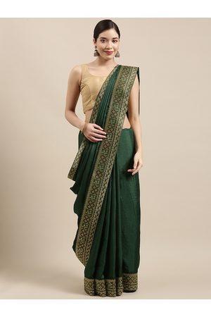 Indian Women Green Zari Silk Blend Saree