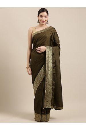 Indian Women Olive Green Zari Silk Blend Saree