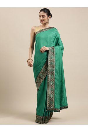 Indian Women Sea Green Zari Silk Blend Saree