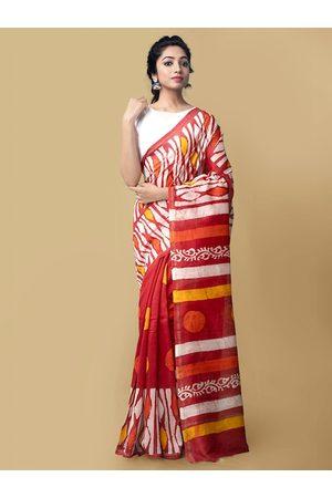 Unnati Silks Unnati Silk Women Red Woven Design Pure Batik Chanderi Silk Cotton Saree