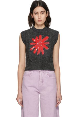 MERYLL ROGGE Women Vests - Grey Daisy Cable Knit Vest